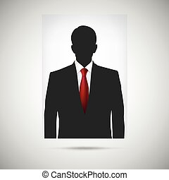 Profile picture whith red tie. Unknown person silhouette,...
