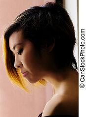 Profile Portrait Asian American Woman Window Light