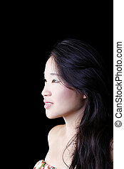 Profile Portrait Attractive Young Asian American Woman