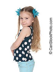 Profile portrait of a fashion little girl