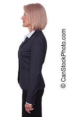 Profile portrait of a senior businesswoman isolated