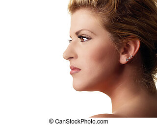 Profile portrait of plump pretty blond woman