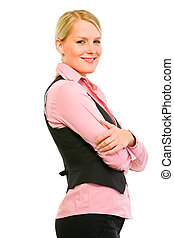 Profile portrait of smiling business woman with crossed arms on chest isolated on white