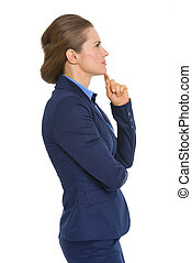 Profile portrait of thoughtful business woman