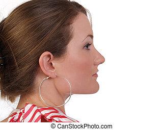 Profile portrait young attractive caucasian blond woman
