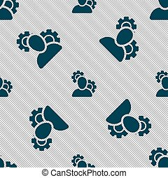 Profile Setting Icon sign. Seamless pattern with geometric texture. Vector