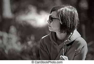 Profile Shot of a Woman with Hooded Top