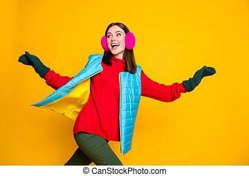 Profile side photo of positive cheerful girl have autumn weekend holiday run her boyfriend chase wear sweater pants isolated over bright shine color background