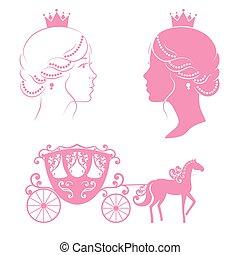 Profile silhouette of a princess and carriage. - Profile...