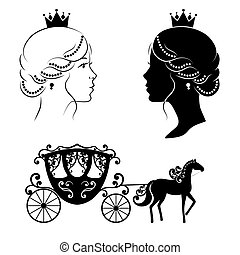 Profile silhouette of a princess and carriage.