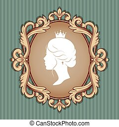 Profile silhouette of a princess in frame