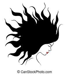 profile silhouette of girl