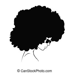 profile silhouette of girl - black silhouette of a girl with...