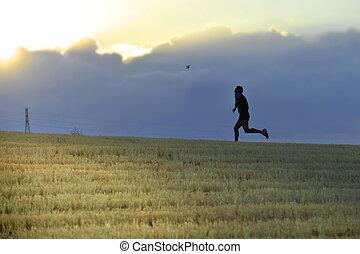 profile silhouette of runner