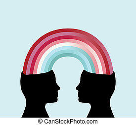 Profile silhouette of two heads connected by a rainbow. Theme: Sharing, connecting, corporation.