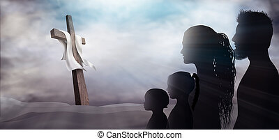 Profile silhouette with crucifix on a dark background. Family looking at the cross. Christian people. Prayer of believers. Sacrifice to the cross. Lord worship. Horizontal