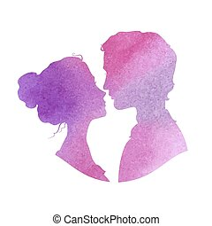 Profile silhouettes of man and woman, watercolor vector illustra