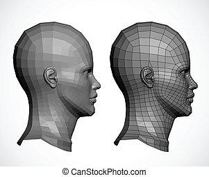 profile., tête, vecteur, femme