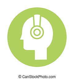 profile with earphone block style vector illustration design