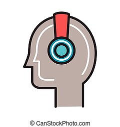 profile with earphone line and fill style vector ...
