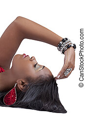 Profile young black woman arm framing face