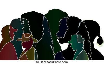 profiles., さらされること, シルエット, ベクトル, 話し, 多数, 黒, ∥間に∥, 人々。, 対話, ...
