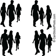 profiles of family - mom, dad, daughter