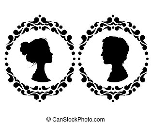 Profiles of man and woman in ornate frame