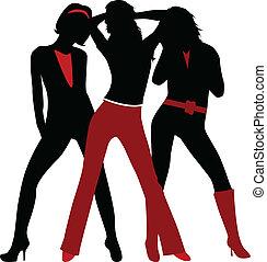 profiles of three trendy girls - vector