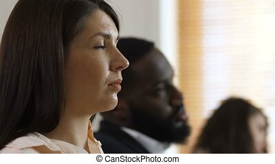 profili, faccia, ascoltatori, diverso, closeup, seminario