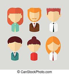 profilo, affari donna, persone, set, uomo, icona