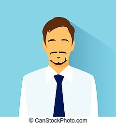 profilo, appartamento, ritratto, uomo affari, maschio, icona