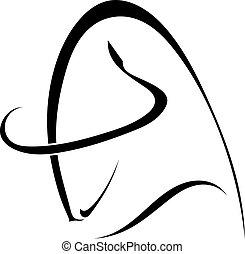 profilo, b, silhouette, semplice, isolato, nero, toro, bianco