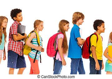 profilo, bambini scuola, andare, linea, zaini, vista