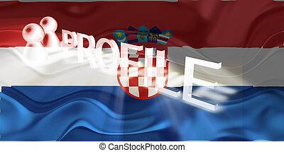 profilo, bandiera, ondulato