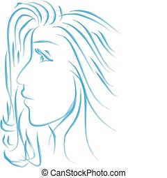 profilo, bello, ragazza, giovane