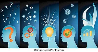 profilo, blu, testa, concetto, success., serie, concept., -, isolato, analisi, idea, symbols., umano, approvazione, fondo, strategia, soluzione, problema, ispirazione