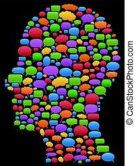 profilo, bolle, discorso, testa