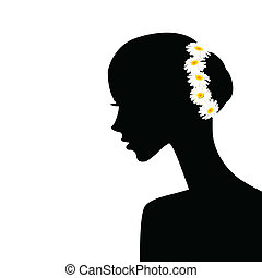 profilo, capelli, donna, chamomiles, lei