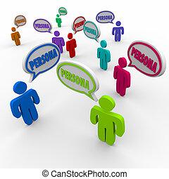profilo, clienti, persona, persone, clienti, discorso, acquirente, bolla