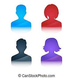 profilo, colorato, icone, avatar, femmina, maschio