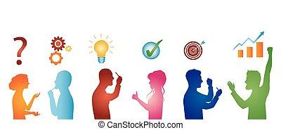 profilo, concetto, silhouette, service., colorito, persone, solution., risolvere, isolato, analisi, strategia, affari, team., problems., cliente, risultato, problema, soluzione, gesturing, success.