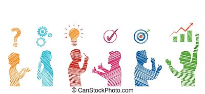 profilo, concetto, stickman, success., servizio, persone, solution., risolvere, soluzione, analisi, strategia, affari, gesturing., team., problems., cliente, risultato, problema, colorato