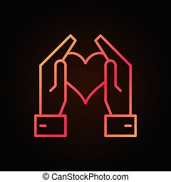 profilo cuore, luminoso, vettore, tenere mani, rosso, icona