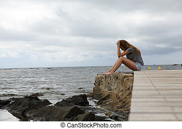 profilo, di, uno, depresso, ragazza, spiaggia
