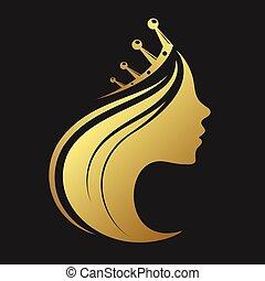 profilo, di, uno, ragazza, con, uno, corona