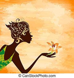 profilo, di, uno, ragazza, con, uno, fiore, su, grunge, fondo