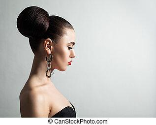profilo, donna, acconciatura, giovane, ritratto sposa