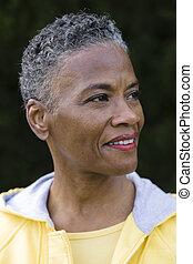 profilo, donna americana, africano