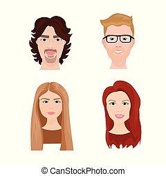profilo, donna, persone, set, hipster, avatar, facce, icona, uomo